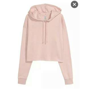 H&M Crop Hooded Dusty Pink