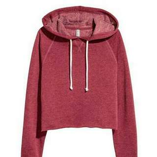 H&M Crop Hooded Maroon