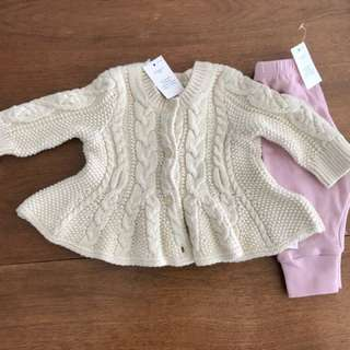 BNWT Baby Gap cardigan and pants 0-3 months
