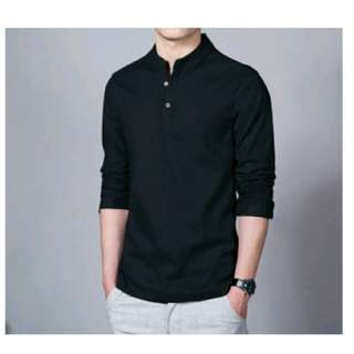 Long Sleeve Solid V Neck Collar Leisure Shirts Men