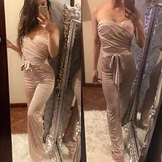 Long satin cream Jumpsuit sleeveless Strapless S 6 8