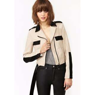 Linen and Leather Moto Jacket