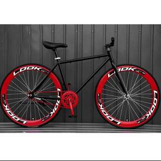 Black frame with red rims
