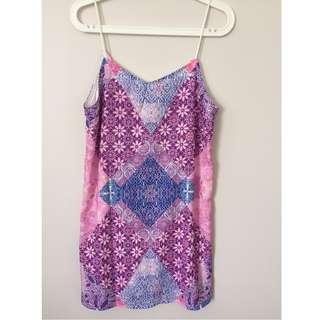 Pink Patterned Slip Dress (Size 8)
