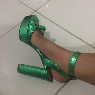 Green leather heels h&m