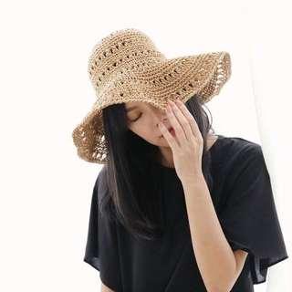 簍空編織帽/咖