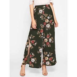 Floral Pants with Slit (Half Garterized)
