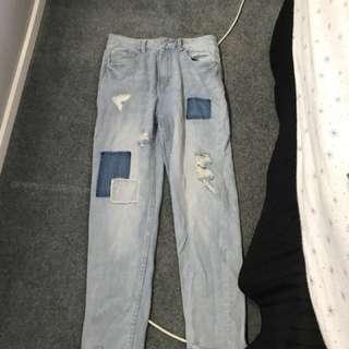 Ripped blue boyfriend jeans