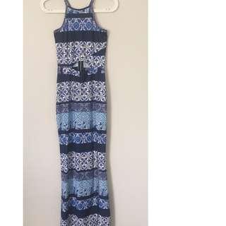 Blue Patterned Maxi Dress (Size 6)
