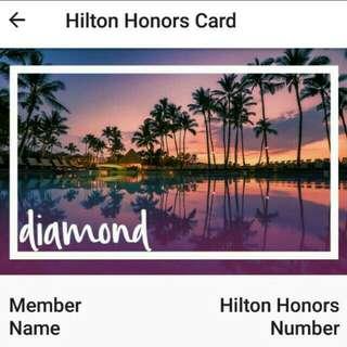 Hilton diamond member card (worldwide usable)