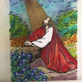 """Frito,Glass art """"Garden in gethsemane"""""""