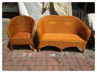 台南{舊箱子二手傢俱}2+1藤沙發舊台南市區.永康.仁德免運費