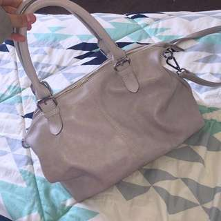 Grey faux leather bag