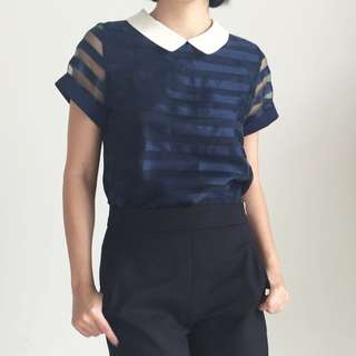 Korean Navy Blue Top