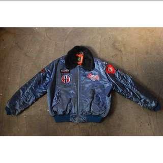 古著 飛行外套 MA1 深藍 布章 老鷹 (可議