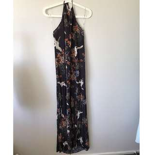 Glassons Patterned Maxi Halter Dress (Size S)