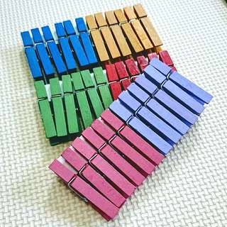 Rainbow Wooden Clips