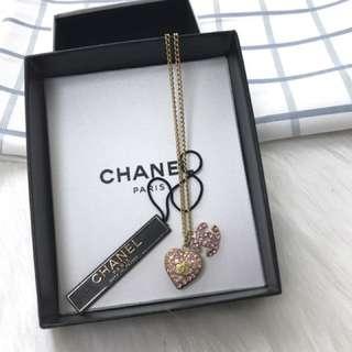 Chanel necklace 粉紅色 水鑽 正貨正品