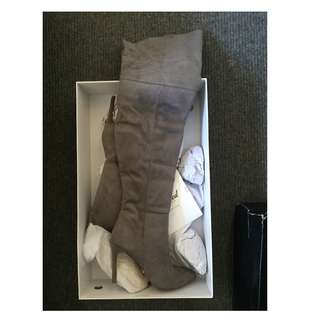 Grey suede knee high boot size 7
