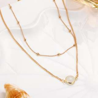 2 Layered Gem Metal Plated Necklace