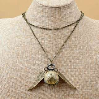 Harry Potter Pocket Watch Necklace Double Side Wings