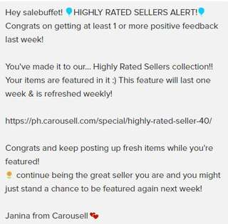 15th - HIGHLY-RATED SELLER (W40) NOTIFICATION!!! - Oct 5, 2017