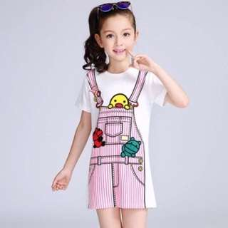 ❗️Promo❗️Kids Girl Short Sleeves Cartoon Printed Dress