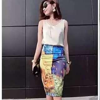 Colourful pencil skirt