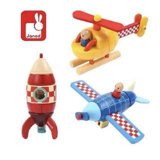 Brand new Janod wooden Rocket/helicopter/plane toy