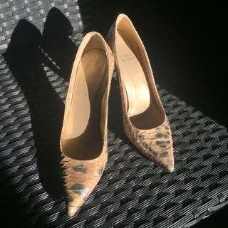 STUART WEITZMAN Gold Snakesin Pointed Heels
