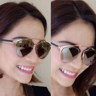 Authentic Dior Reflected Shades Rosegold/Navy Blue Temple Sunglasses