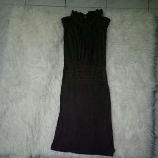(SISA JUALAN) frilled high neck dark brown dress .