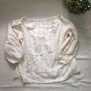 韓國一字領露肩米白粉紅間條上衣