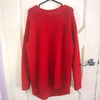 Bright red oversized boyfriend knit