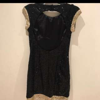 Elle Zeitoune gold and black sequinned dress
