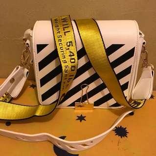 Off white binder sling bag