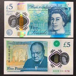 2016 GREAT BRITAIN £5 POUNDS POLYMER P-394 UNC
