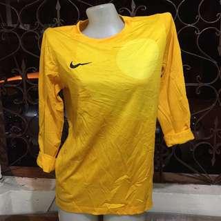 Nike yellow longsleeves drifit sports shirt large