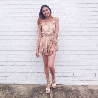 Sequin Rose Gold Playsuit Size 6-8