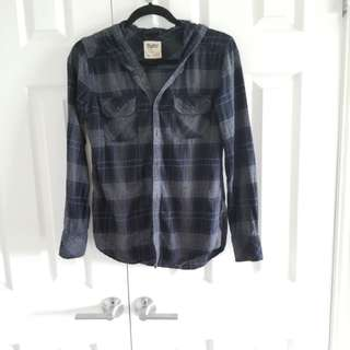 Aritzia TNA XXS Flannel Button Up Hoodie