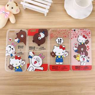 Line Friends Hellokitty 電話殼電話套 Iphone 6 6s Brown Cony 熊大 兔兔