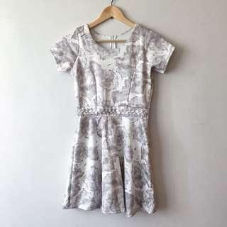 BN Grey Floral Skater Dress