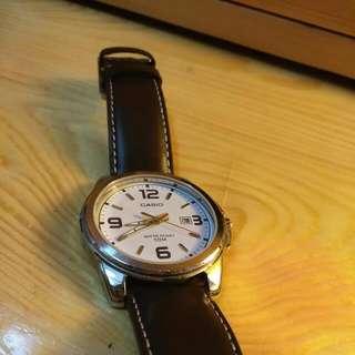 Casio啡色皮錶,防水50米