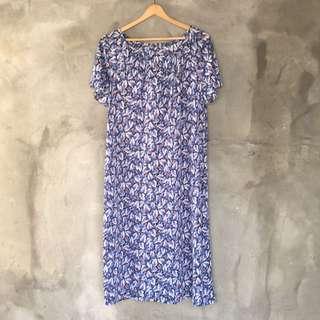 日貨藍葉伸縮領短袖洋裝❤️任選兩件減100✨古著復古vintage森林系
