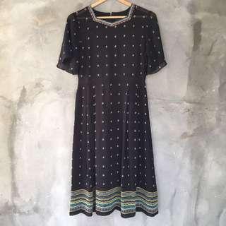 日本製🇯🇵民族風黑色短袖洋裝❤️任選兩件減100✨古著復古vintage森林系
