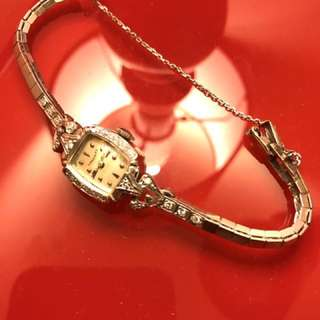 Vintage Watch Ladies 14K Solid Gold Diamond Bracelet