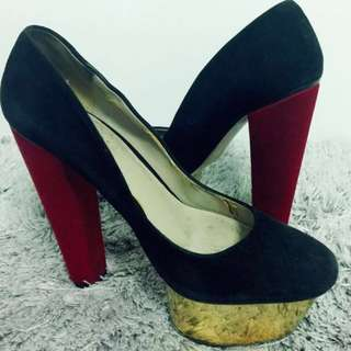 Zara Heels (Black, Red & Gold)