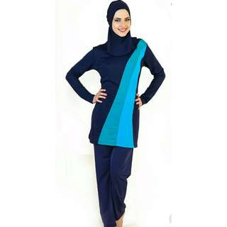 3-Tone Blue Muslimah Swimwear / Swimsuit [3 Piece Suit]