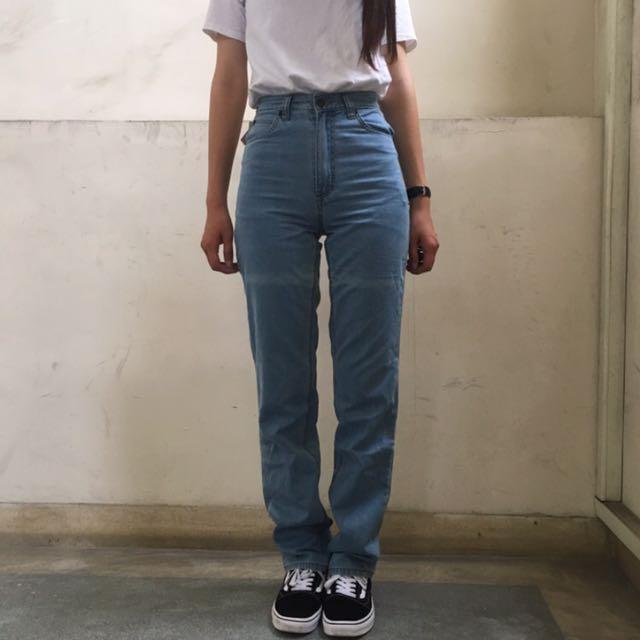80s Lee老品庫存牛仔褲 淺藍軟布 高腰褲26腰❤️任選兩件減100✨古著復古vintage