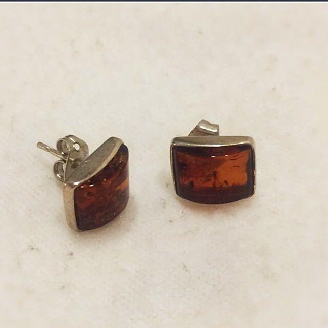 ✨法國的925銀和琥珀的耳環✨